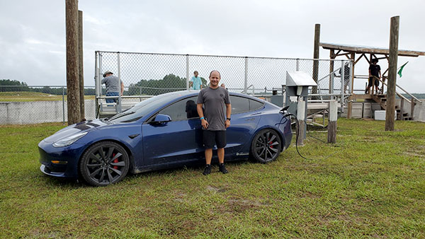 Buddy with Tesla Model 3 Performance